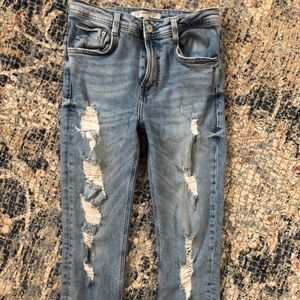 Zara Destroyed/Distressed High-Waisted Denim/Jeans